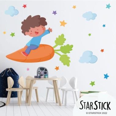 Niño con una zanahoria - Vinilos de pared para colegios y escuelas