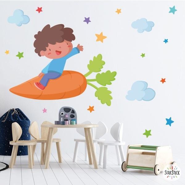 Nen amb una pastanaga - Vinils de paret per a col·legis i escoles Vinils educatius / escoles Fantàstics vinils infantils de paret pensats especialment per decorar menjadors i cuines escolars. Vinils d'alta qualitat i fàcil col·locació, amb els quals aconseguireu que els vostres menjadors es converteixin en zones divertides i agradables. Existeixen diferents models que podeu combinar al vostre gust depenent de l'espai que tingueu. Les estrelles poden ser de colors o triar dos colors concrets per combinar. Mides aproximades del vinil enganxat (ample x alt) Bàsic:70x40cm Petit:100x70cm Mitjà:120x90 cm Gran:200x120 cm Gegant:250x150 cm  vinilos infantiles y bebé Starstick