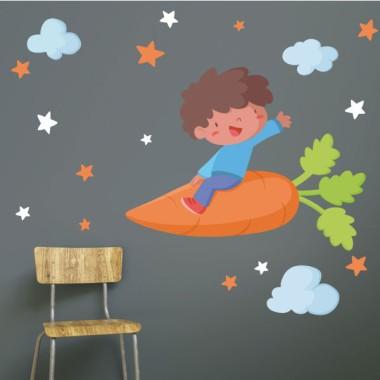 Niño con una zanahoria - Vinilos de pared para colegios y escuelas Vinils educatius / escoles Fantásticos vinilos infantiles de pared pensados especialmente para decorar comedores y cocinas escolares. Vinilos de alta calidad y fácil colocación, con los que conseguiréis que vuestros comedores se conviertan en zonas divertidas y agradables. Existen distintos modelos que podéis combinar a vuestro gusto dependiendo del espacio que tengáis. Las estrellas pueden ser de colores o elegir dos colores concretos para combinar. Medidas aproximadas del vinilo montado (ancho x alto) Básico:70x40cm Pequeño:100x70cm Mediano:120x90 cm Grande:200x120 cm Gigante:250x150 cm  vinilos infantiles y bebé Starstick