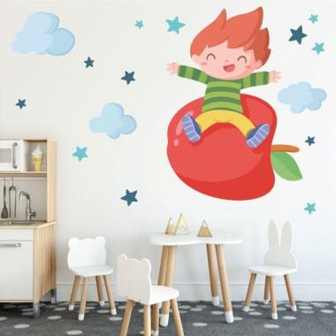 Niño con una manzana - Vinilos de pared para colegios y escuelas
