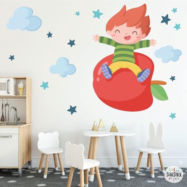 Nen amb una poma - Vinils de paret per a col·legis i escoles Vinils educatius / escoles Fantàstics vinils infantils de paret pensats especialment per decorar menjadors i cuines escolars. Vinils d'alta qualitat i fàcil col·locació, amb els quals aconseguireu que els vostres menjadors es converteixin en zones divertides i agradables. Existeixen diferents models que podeu combinar al vostre gust depenent de l'espai que tingueu. Les estrelles poden ser de colors o triar dos colors concrets per combinar. Mides aproximades del vinil enganxat (ample x alt) Bàsic:70x40cm Petit:100x70cm Mitjà:120x90 cm Gran:200x120 cm Gegant:250x150 cm  vinilos infantiles y bebé Starstick
