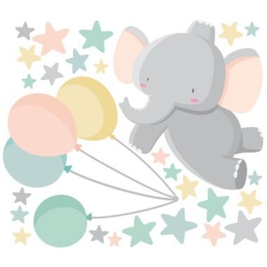 Stickers pour enfants - Le petit éléphant avec des ballons Sticker muraux chambre bébé Mesures approximatives du vinyle monté (largeur x hauteur) Basique:70x50 cm Petit:120x80 cm Moyen:160x100 cm Grand:230x130 cm Géant:320x175 cm  AJOUTE UN NOM POUR LE VINYLE À PARTIR DE 9,99€  vinilos infantiles y bebé Starstick
