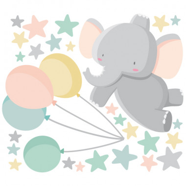 Vinilos infantiles - Elefante con globos Vinilos infantiles Bebé Dulces vinilos infantiles para decorar las paredes del cuarto del bebé. Éste modelo del elefante con globos incluye una gran cantidad de estrellitas de distintos tamaños, con las que podréis llenar el resto de la pared. Vinilos decorativos infinitamente dulces y tiernos. Medidas aproximadas del vinilo montado (ancho x alto) Básico:70x50 cm Pequeño:120x80 cm Mediano:160x100 cm Grande:230x130 cm Gigante:320x175 cm  AÑADE UN NOMBRE AL VINILO DESDE 9,99€  vinilos infantiles y bebé Starstick