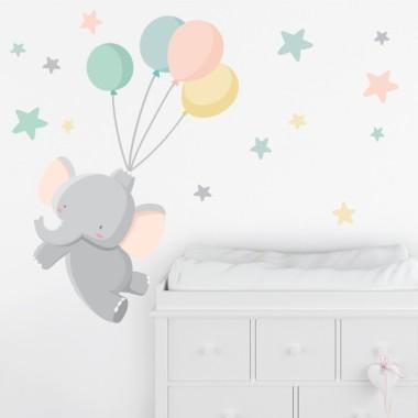 Vinilos infantiles - El pequeño elefante con globos