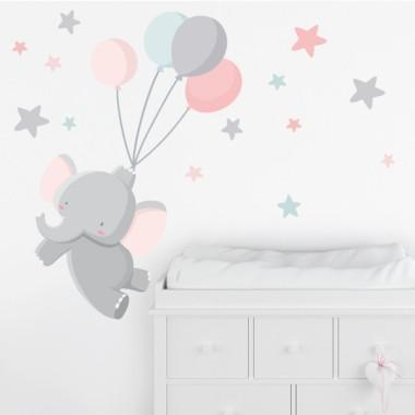 Stickers pour enfants - Éléphant avec des ballons - Rose