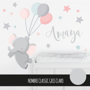 Stickers pour enfants - Le petit éléphant avec des ballons - Rose