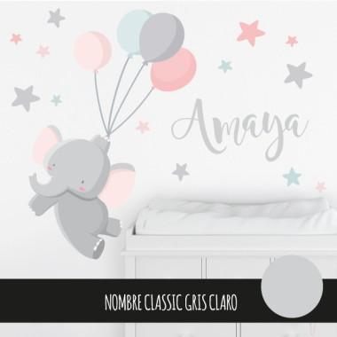 Vinilos infantiles - Elefante con globos - Rosa