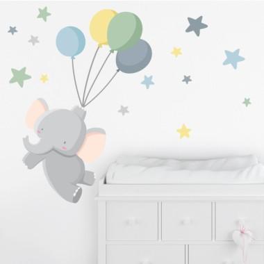 Stickers pour enfants - Le petit éléphant avec des ballons - Bleu
