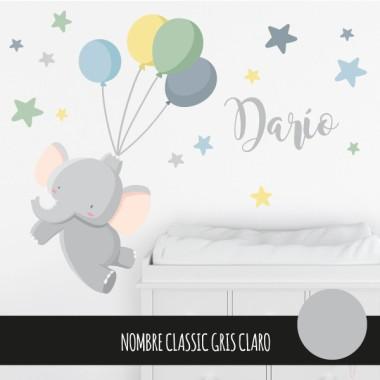 Vinils infantils - El petit elefant amb globus - Blau