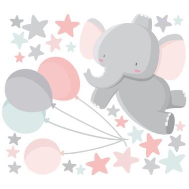 Vinils infantils - Elefant amb globus - Rosa Vinils nadó Dolços vinils infantils per decorar les parets de l'habitació del nadó. Aquest model de l'elefant amb globus inclou una gran quantitat d'estrelletes de diferents mides, amb les que podreu omplir la resta de la paret. Vinils decoratius infinitament dolços i tendres. Mides aproximades del vinil enganxat (ample x alt) Bàsic: 70x50 cm Petit: 120x80 cm Mitjà: 160x100 cm Gran: 230x130 cm Gegant: 320x175 cm  AFEGEIX UN NOM PER EL VINIL DE 9,99€  vinilos infantiles y bebé Starstick