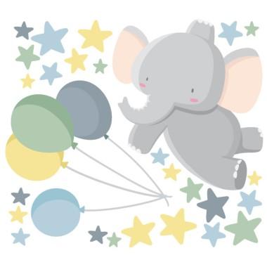 Stickers pour enfants - Le petit éléphant avec des ballons - Bleu Sticker muraux chambre bébé Mesures approximatives du vinyle monté (largeur x hauteur) Basique:70x50 cm Petit:120x80 cm Moyen:160x100 cm Grand:230x130 cm Géant:320x175 cm  AJOUTE UN NOM POUR LE VINYLE À PARTIR DE 9,99€  vinilos infantiles y bebé Starstick