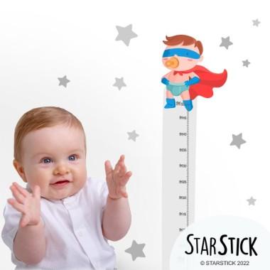 Sticker toise - Bébé super-héros - Garçon