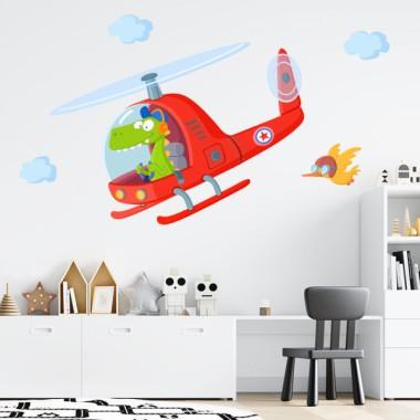 Vinilos infantiles - Helicóptero con cocodrilo