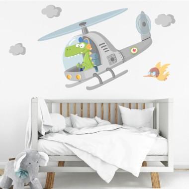 Hélicoptère avec crocodile - Stickers muraux enfants