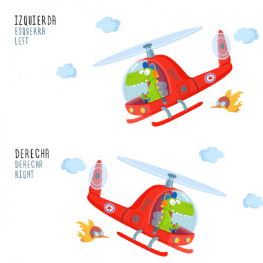 Vinyles enfants - Hélicoptère avec crocodile Stickers enfants Vinyle amusant pour enfants avec un hélicoptère et un crocodile pilote intrépide. Vinyles originaux pour enfants pour décorer les chambres d'enfants et de bébés. Des produits de haute qualité, faciles à installer et avec d'excellents résultats. Mesures approximatives du vinyle monté (largeur x hauteur) Basique: 70x35cm Petit: 100x55cm Moyen: 140x35 cm Grand: 200x100 cm Géant: 250x135cm AJOUTER UN NOM AU VINYLE À PARTIR DE 9,99 €  vinilos infantiles y bebé Starstick