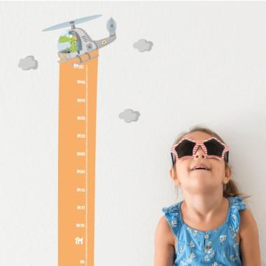 Vinilo medidor infantil - Helicóptero con cocodrilo