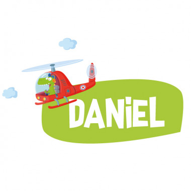 Hélicoptère avec crocodile - Sticker nom de porte