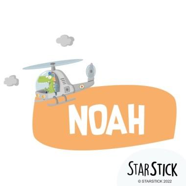 Hélicoptère avec crocodile - Sticker porte nom