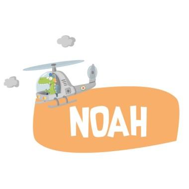 Helicóptero con cocodrilo - Vinilo con nombre para puertas