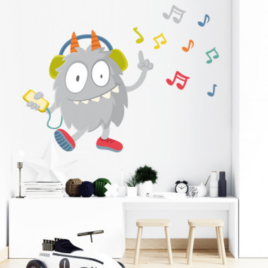 Music Monster - Sticker mural enfant