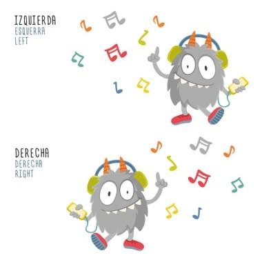 Music Monster - Vinil decoratiu infantil Vinils infantils Nen Simpàtic vinil decoratiu amb la il·lustració d'un divertit monstre escoltant música. Vinils de paret perfectes per decorar habitacions infantils, aules de música, espais públics Una bona fórmula per omplir de vida i diversió qualsevol paret.  Mesures aproximadesdel vinilmuntat (ample x alt) Bàsic: 75x45 cm Petit: 100x70 cm Mitjà: 145x80 cm Gran: 175x100 cm Gegant: 250x150 cm  vinilos infantiles y bebé Starstick