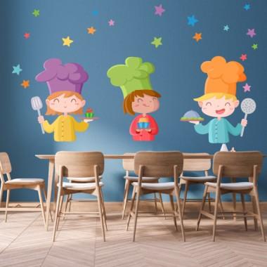 Les trois cuisiniers - Vinyle décoratif pour les salles à manger des écoles
