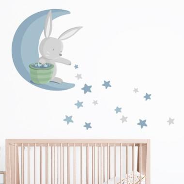 Conejito en la luna repartiendo estrellas - Azul - Vinilo para bebé