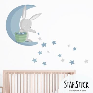 Lapin sur la lune distribuant des étoiles - Bleu - Stickers bébé