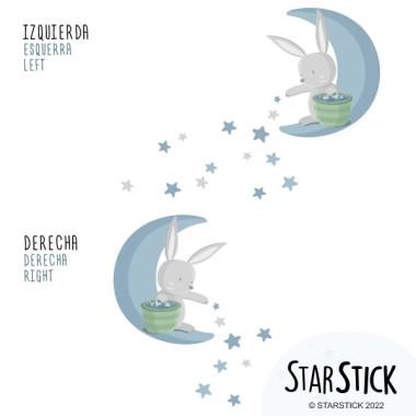 Lapin sur la lune distribuant des étoiles - Bleu - Stickers bébé Sticker muraux chambre bébé Dimensions approximatives (largeur x hauteur) Basique: 60x55 cm Petit: 100x90 cm Moyen: 150x120 cm Grand: 180x150 cm Géant: 250x210 cm  AJOUTE UN NOM POUR LE VINYLE À PARTIR DE 9,99€   vinilos infantiles y bebé Starstick