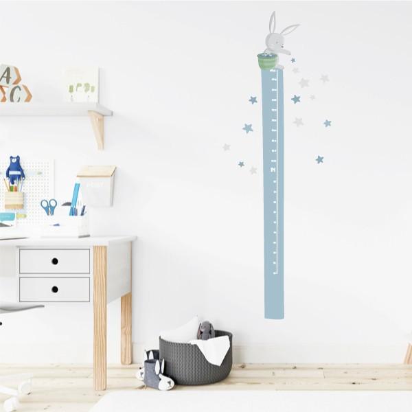 Lapin dans la lune et étoiles - Sticker toise Toises Les Tailles Taille de la feuille:20x135 cm Taille du montage:50x135 cm  Comprend 16 étiquettes pour marquer ce que vous voulez! vinilos infantiles y bebé Starstick