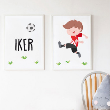 Pack de 2 làmines decoratives - Nen jugador de futbol. Athletic de bilbao + Làmina amb nom