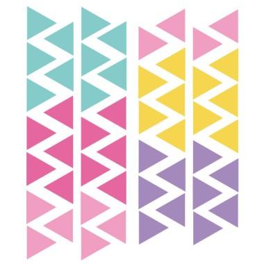 Triangle combinaison Licorne - Sticker muraux Stickers triangle et silhouettes Les Tailles Taille de la feuille: 60x12 cm 1 triangle: 3,5x4 cm Nombre de triangles: 50 (rose, fuchsia, turquoise, jaune et lilas) AJOUTER UN PRÉNOM À PARTIR DE 9,95 € vinilos infantiles y bebé Starstick