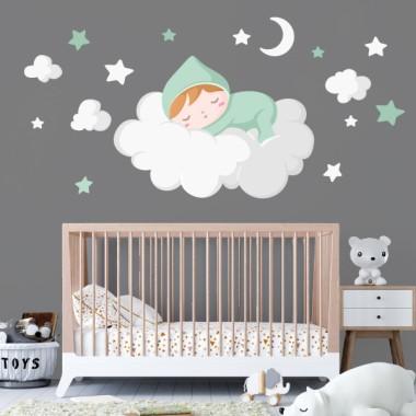 Bébé dort sur le nuage blanc - Stickers bébé