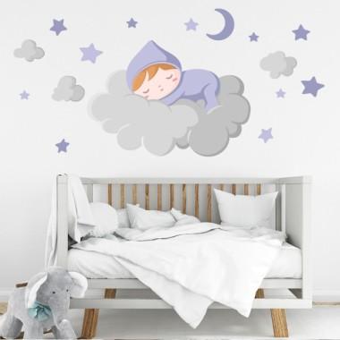 Bébé dort sur le nuage gris - Stickers muraux bébé Sticker muraux chambre bébé Décorez la chambre de bébé avec ce joli sticker mural. Le vinyle comprend un bébé qui dort sur le nuage, de petits nuages, une lune et des étoiles. Des vinyles pour enfants pleins de tendresse, faciles à installer et aux designs magnifiques.  Dimensions approximatives du vinyle pour enfants monté (largeur x hauteur)  Basique: 70x45 cm  Petit: 100x55cm  Moyen: 150x70 cm  Grand: 200x100 cm  Géant: 250x150cm  AJOUTER UN NOM AU VINYLE À PARTIR DE 9,99 € vinilos infantiles y bebé Starstick