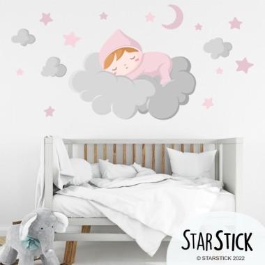 Bebé durmiendo en la nube gris - Vinilos para bebé