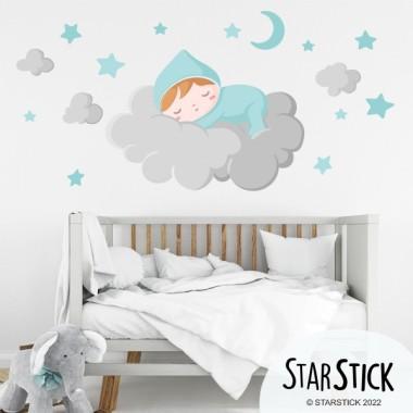 Sticker bébé - Bébé dort sur un nuage gris