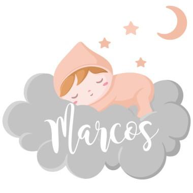 Bebé durmiendo en la nube - Nombre para puertas. Vinilo infantil Vinilos para puertas Vinilos decorativos personalizables con uno o dos nombres. Una original manera para decorar puertas, muebles, paredes o cualquier superficie lisa. Éste modelo del bebé durmiendo en las nubes, permite elegir el color del pijama entre 6tonos diferentes. Con los vinilos personalizables de StarStick conseguirás que tu peque tenga una habitación encantadora.  Tamaño de la lámina y montaje Lámina 1 nombre:30x21cm Lámina 2 nombres:30x27cm   vinilos infantiles y bebé Starstick