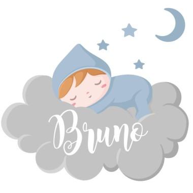 Bébé dort sur un nuage gris - Sticker nom de porte