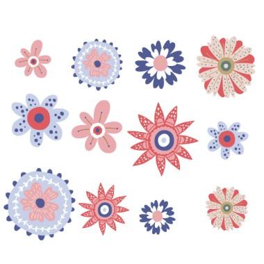 Fleurs scandinaves tons rouges et bleus - Stickers muraux pour la maison