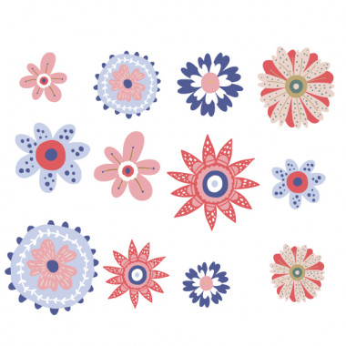 Flors Scandy tons vermell i blau - Vinils de paret per a la llar