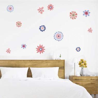 Flores Scandy tonos rojo y azul - Vinilos de pared para el hogar