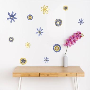 Fleurs Scandy tons bleu et jaune - Stickers muraux pour la maison
