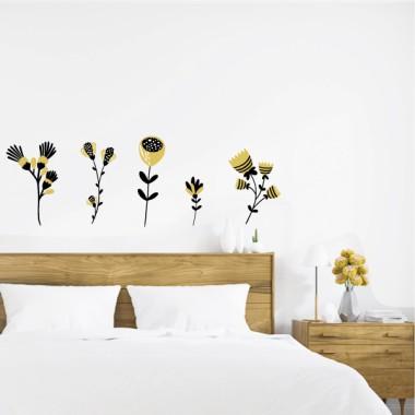 Vinilo cabezal de cama - Flores con tallo