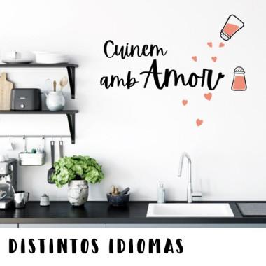 Cuisiner avec amour - Vinyle décoratif pour cuisines