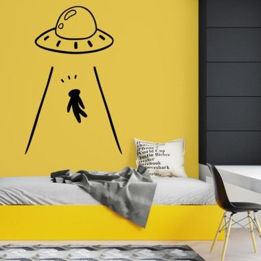 Attention! Les extraterrestres me kidnappent - Stickers muraux très originaux