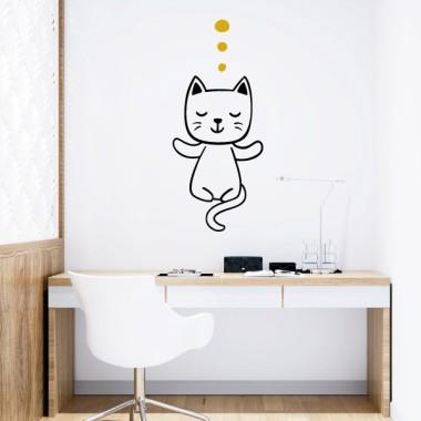 Gato haciendo yoga - Vinilos decorativos de pared Vinilos casa Ommmm. Gato en modo yoga. Divertido vinilo de pared con la silueta de un gatito haciendo yoga. Vinilos para gente atrevida, dispuesta a llenar de humor y arte cualquier pared. Con los vinilos StarStick podréis cambiar el estilo de cualquier espacio de manera rápida y económica. ¿Empezamos? Medidas aproximadas del vinilo montado (ancho x alto) Básico: 25x59cm Pequeño:42x95 cm Mediano:47x110cm Grande:130x125cm Gigante:68x150cm  vinilos infantiles y bebé Starstick