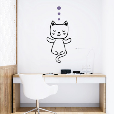 Chat faisant du yoga - Stickers muraux