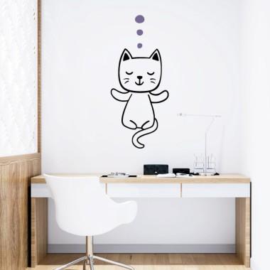 Gat fent ioga - Vinils decoratius de paret
