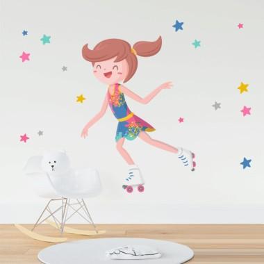 Fille patineuse avec justaucorps coloré - Stickers muraux enfants
