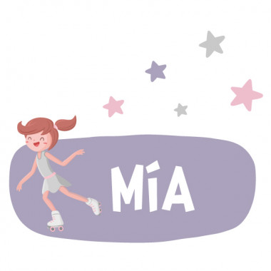 Sticker enfant amb nom - Patineur